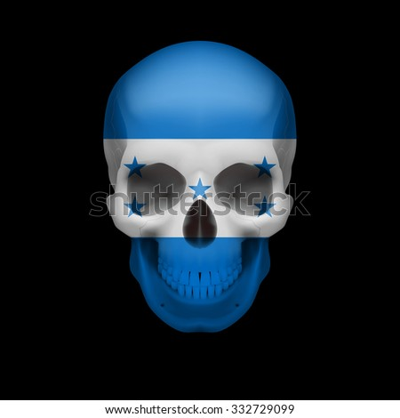 Raster version. Human skull with flag of Honduras. Threat to national security, war or dying out - stock photo