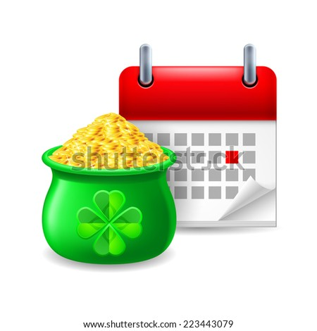 Raster version. Icon of pot of gold and calendar with marked day  - stock photo