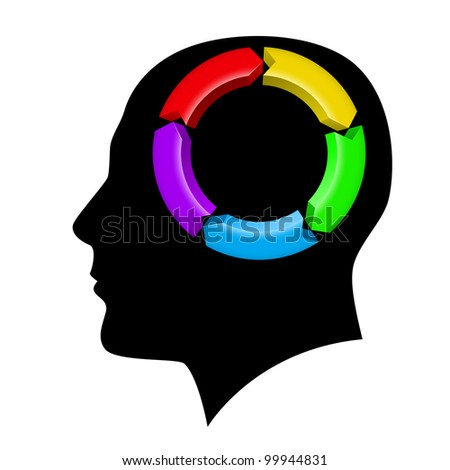 Raster version. Idea Management in the brain. Illustration on white background - stock photo