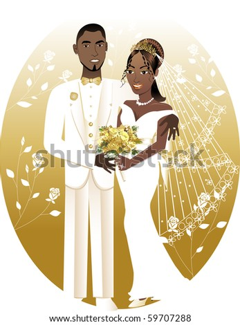 Raster version Illustration. A beautiful bride and groom on their wedding day. African American Wedding Couple. Bride Groom 2. - stock photo