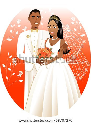 Raster version Illustration. A beautiful bride and groom on their wedding day.  Wedding Couple Bride Groom 3. - stock photo