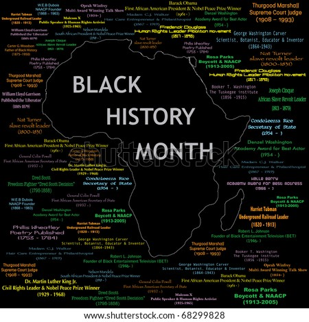 Raster version Illustration for black history month including names, time periods and what each person did. See others in this series. Makes a great poster large print. - stock photo