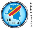 Raster version Illustration for Democratic Republic of Congo, Round Button. - stock photo