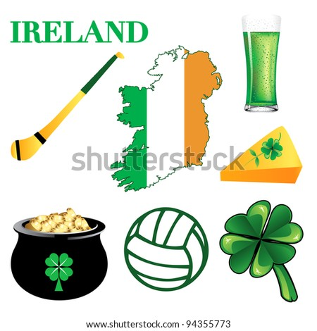 Raster version Illustration for Ireland. Irish Button Icons - stock photo