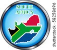 Raster version Illustration for South Africa, Round Button. - stock photo