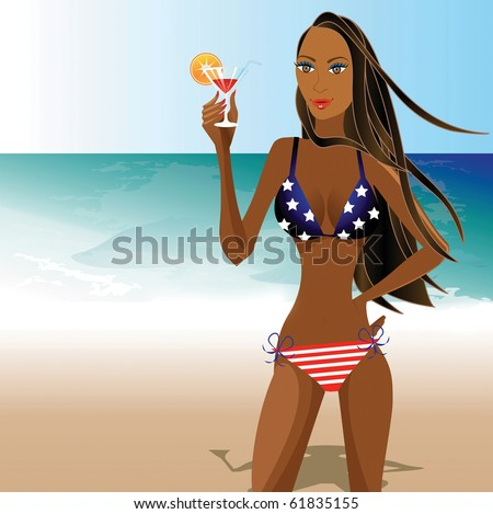 Raster version Illustration of a Beautiful young woman in a flag bikini, there is space for text.