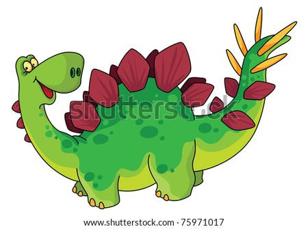 raster version illustration of a cute dinosaur - stock photo