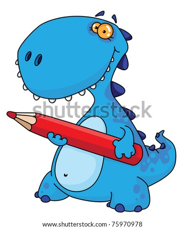 raster version illustration of a dinosaur with a pencil - stock photo