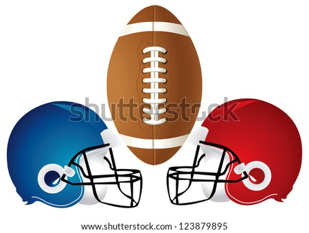 Raster version Illustration of a football design with helmets. - stock photo