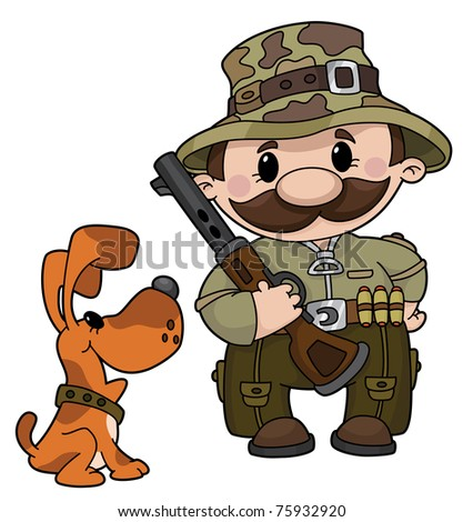 raster version illustration of a hunter and dog - stock photo