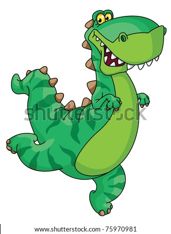 raster version illustration of a hurry dinosaur - stock photo