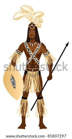 Raster version Illustration of a man dressed in Zulu Carnival Halloween Costume.