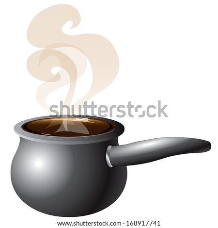 Raster version Illustration of a Pot Steaming with smoke. - stock photo