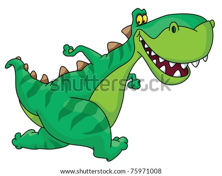 raster version illustration of a running dinosaur - stock photo