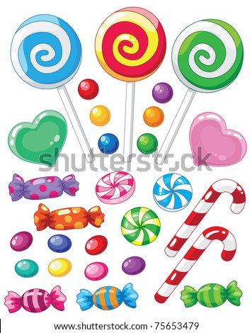 raster version illustration of a set of sweets - stock photo