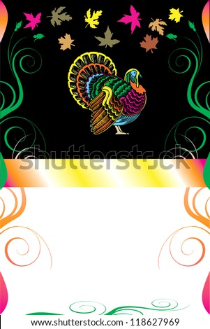 Raster version Illustration of a Thanksgiving Background with Thanksgiving Turkey.