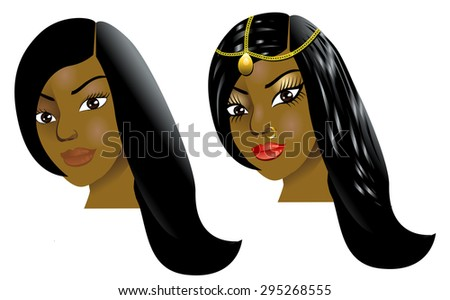 Raster version Illustration of a woman with little or no makeup, natural before and after styling. - stock photo