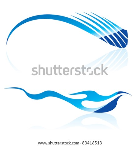 Raster version.  illustration of abstract blue waves on black background #6 - stock photo