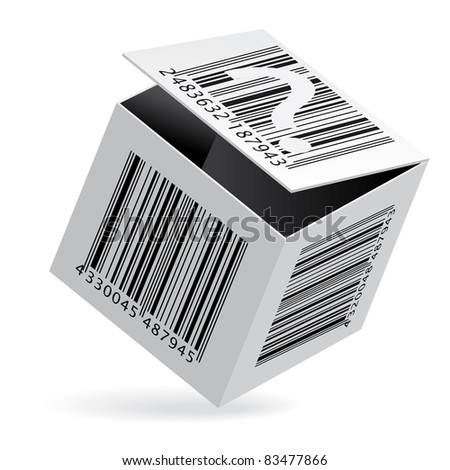 Raster version. Illustration of bar code on open white box - stock photo