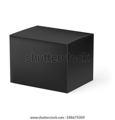 Raster version. Illustration of black cardboard box isolated on white background - stock photo