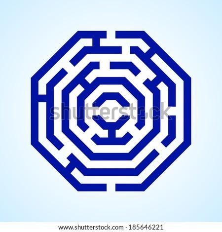 Raster version. Illustration of  blue labyrinth in octangle shape on light blue background - stock photo