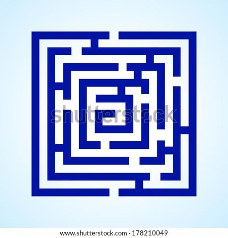 Raster version. Illustration of blue square labyrinth on light blue background - stock photo