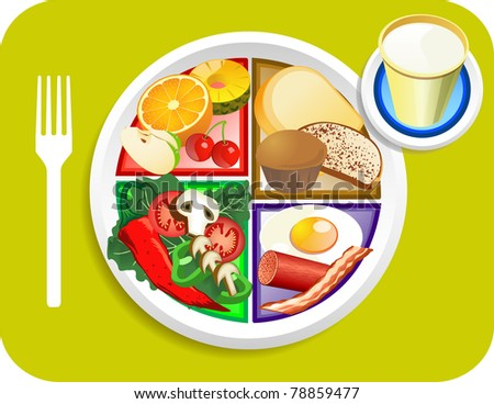 Raster version illustration of Breakfast my plate replaces food pyramid. - stock photo
