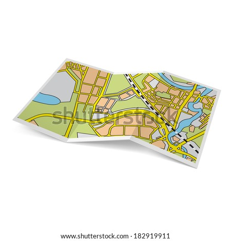 Raster version. Illustration of city map booklet on white background