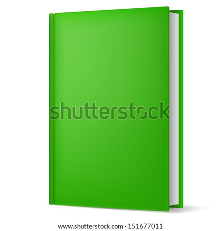 Raster version. Illustration of classic green book in front vertical view isolated on white background. - stock photo