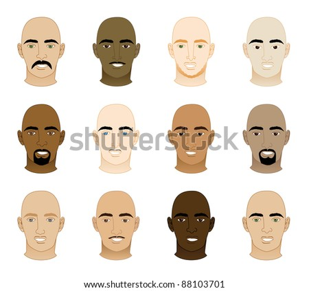 Raster version Illustration of 12 different Bald Men Faces.