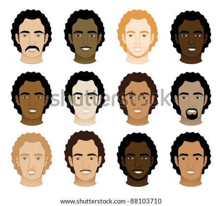 Raster version Illustration of 12 different Curly Afro Men Faces. - stock photo