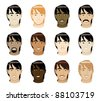 Raster version Illustration of 12 different long Straight Hair Men Faces. - stock photo