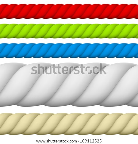Raster version. Illustration of Different size and color Rope. - stock photo