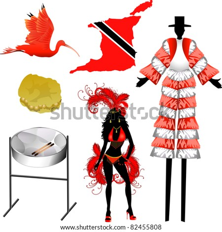 Raster version Illustration of 6 different Trinidad and Tobago icons. - stock photo