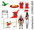 Raster version Illustration of 9 different Trinidad and Tobago Trini icons. - stock photo