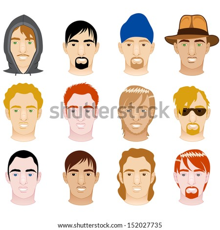 Raster version Illustration of 12 different White and Mixed Men Faces.  - stock photo