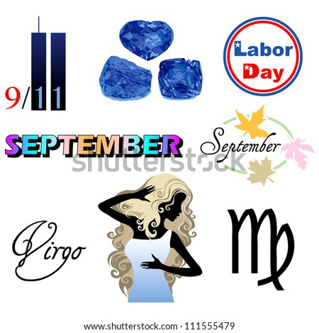 Raster version Illustration of eight September Icons including birthstones, holidays and zodiac symbols. - stock photo