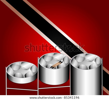 Raster version Illustration of flag with three variations of Steel Pan Drums with invented in Trinidad and Tobago. - stock photo