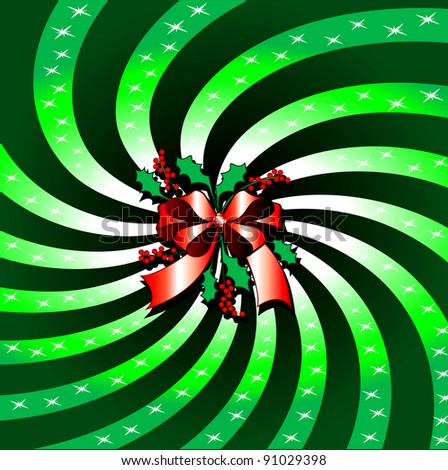 Raster version Illustration of Green Christmas Bow Background with Rays. - stock photo