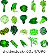 Raster version Illustration of 20 green vegetable icons. - stock photo