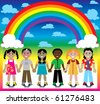 Raster version Illustration of 6 happy kids under a rainbow with a colorful background and a place for text or imagery. - stock photo