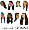 Raster version Illustration of Indian, Arab and Native American Women Faces. Great for avatars, makeup, skin tones or hair styles of various women. - stock photo