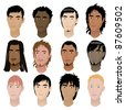 Raster version Illustration of 12 men faces. Men Faces #6. - stock photo