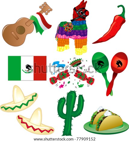 Raster version Illustration of 9 Mexican party icons - stock photo