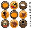 Raster version Illustration of nine brown and orange round Thanksgiving button icons. - stock photo