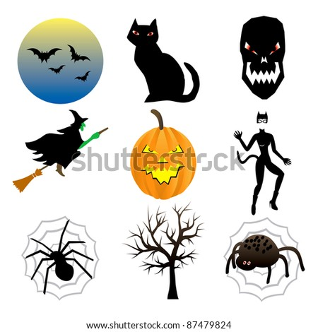 Raster version Illustration of nine different Halloween icons. - stock photo