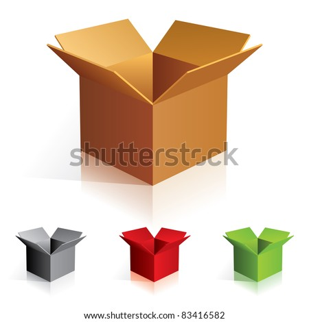 Raster version. Illustration of open color cardboard boxes. For design. - stock photo