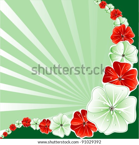 Raster version Illustration of Red with Green Floral Background. - stock photo