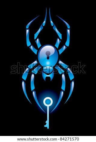 Raster version.  illustration of spider with the key on black background - stock photo