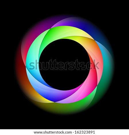 Raster version. Illustration of spiral ring in bright and diffused colors on black background.